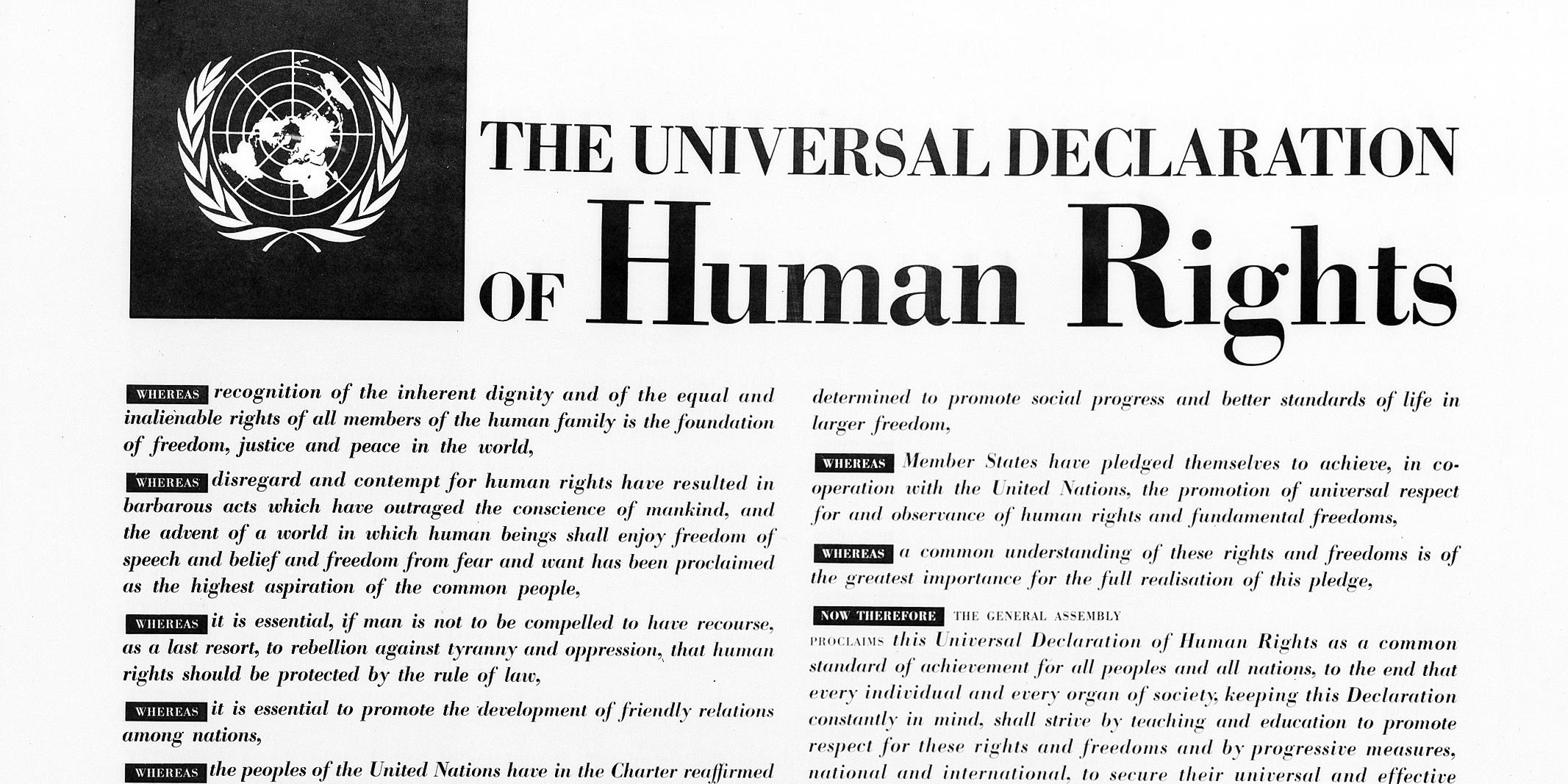 Bilde av den opprinnelige verdenserklæringen for menneskerettigheter. Foto: UN Photo