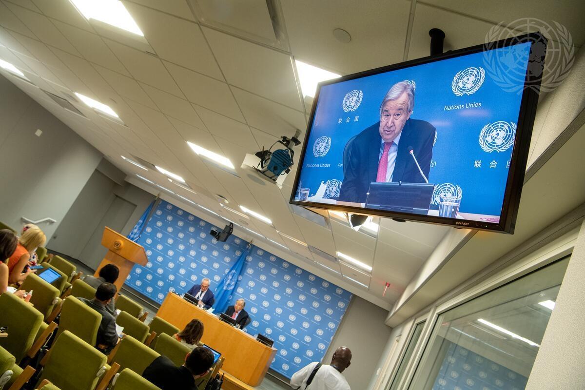 "FNs generalsekretær orienterte pressen om sin nye rapport ""Our Common Agenda"" i forkant av FNs 76. generalforsamling. Foto: UN Photo/Eskinder Debebe."