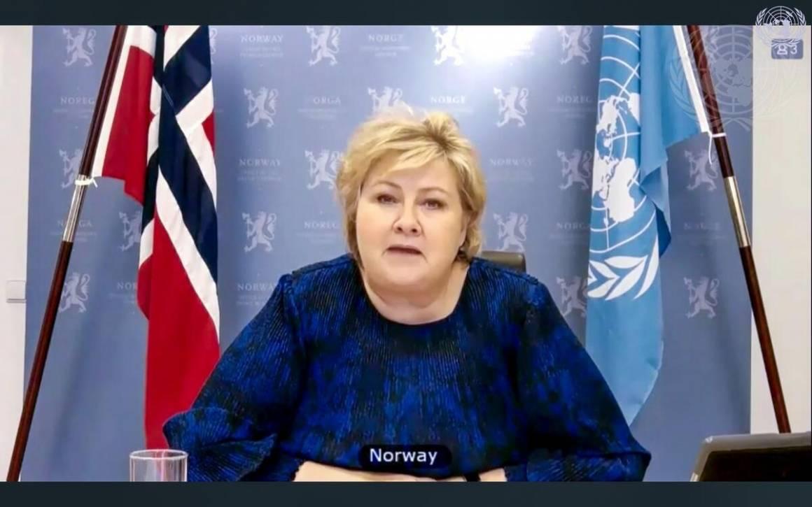 Statsminister Erna Solberg snakker om klima og sikkerhet i Sikkerhetsrådet.