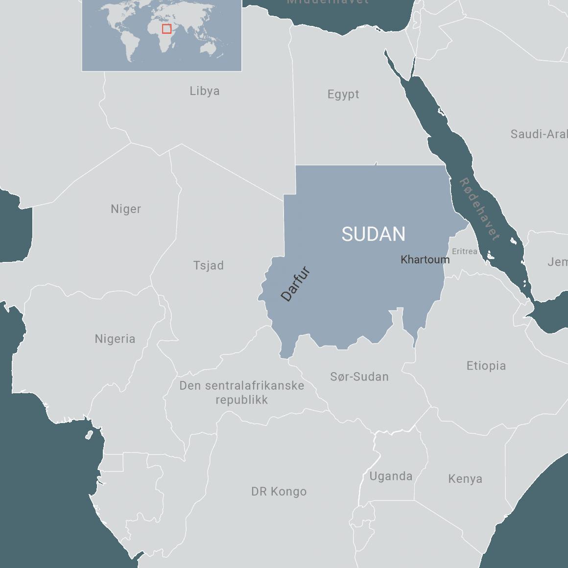 Kart over Sudan . Ill: FN-sambandet
