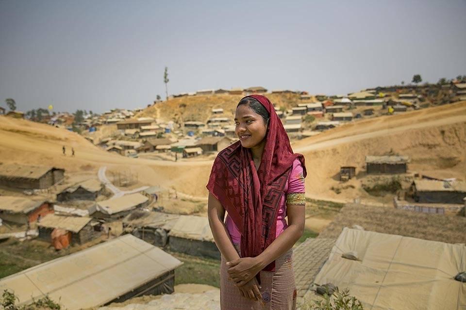 Rohingyia-kvinnen Senu Are bor i flyktningleiren i Cox's Bazar,Bangladesh. UN Women jobber for å bedre forholdene for kvinner på flukt.Foto: UN Women/Allison Joyce