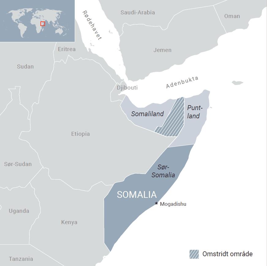 Kart over Somalia. Ill: FN-sambandet