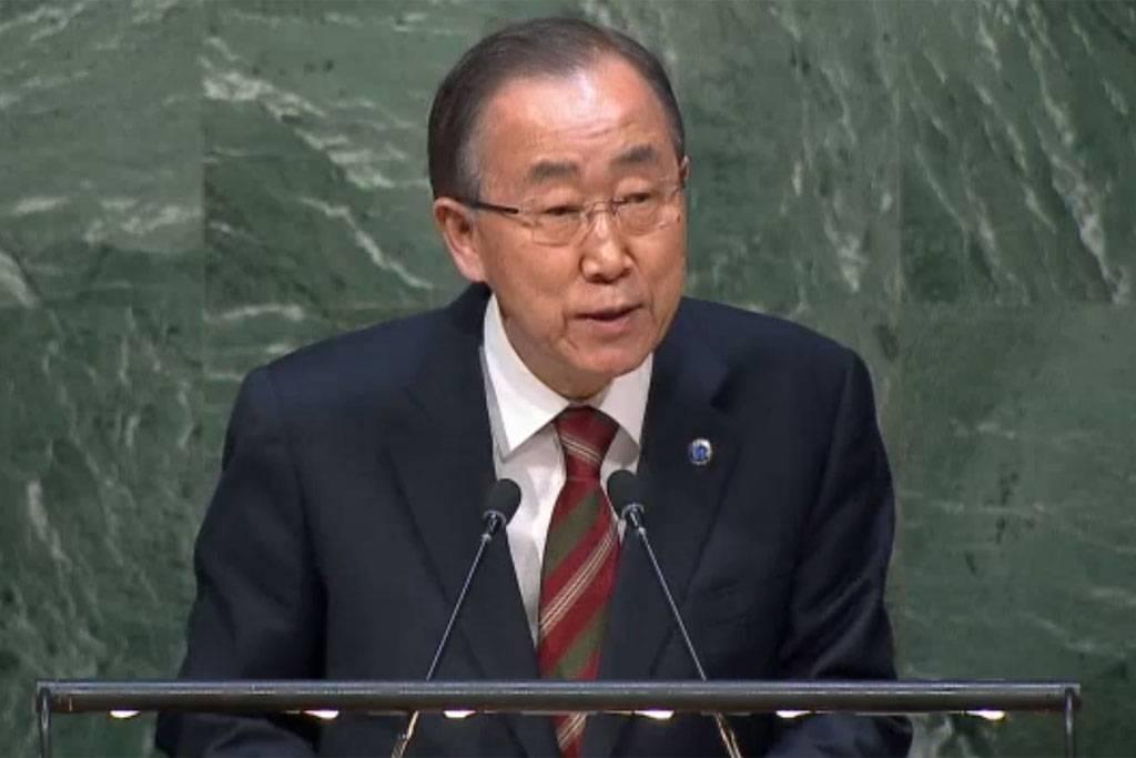 Bildet er fra generalsekretær Ban Ki-moons orientering til FNs generalforsamling. Foto: Skjermbilde UNTV.