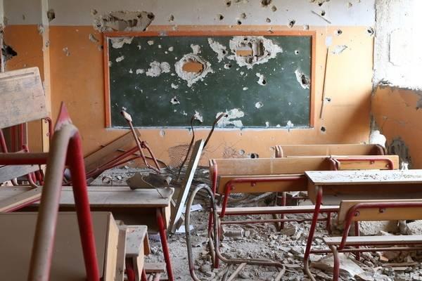 En skole i utkanten av Damaskus, fullstendig ødelagt av krigen. Foto: UNICEF / M. Abdulaziz