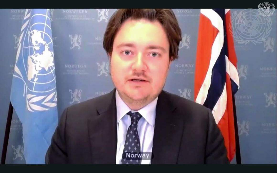 Statssekretær Jens Frølich Holte holdt det norske innlegget i debatten om beskyttelse av kritisk sivil infrastruktur. Foto: UN Photo/Eskinder Debebe