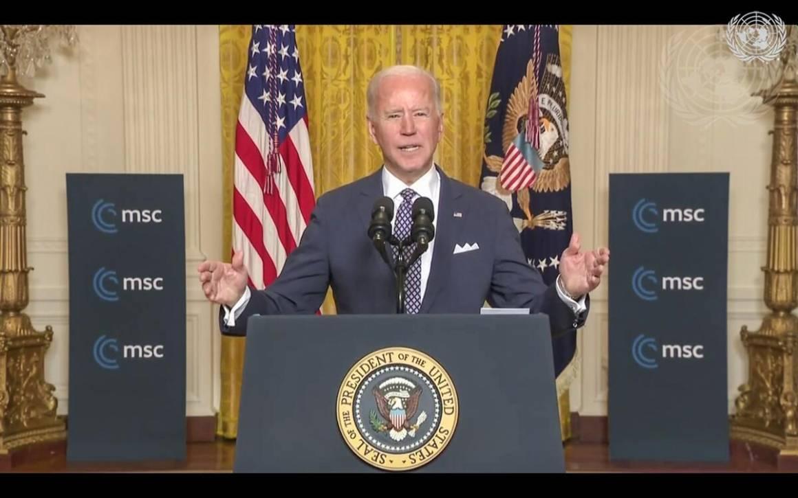 President Joe Biden talte på sikkerhetskonferansen i München tidligere i år. Foto: UN Photo/Eskinder Debebe