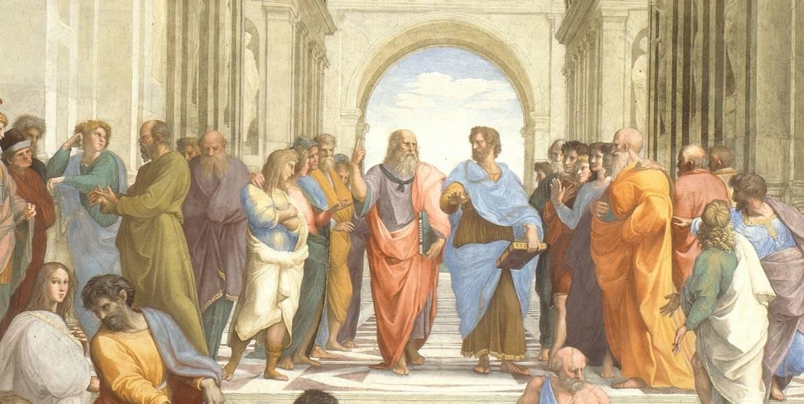 """Filosofi er en menneskelig aktivitet som skjer i fellesskap. Her illustrert gjennom Raphaels bilde """"School of Athens""""."""