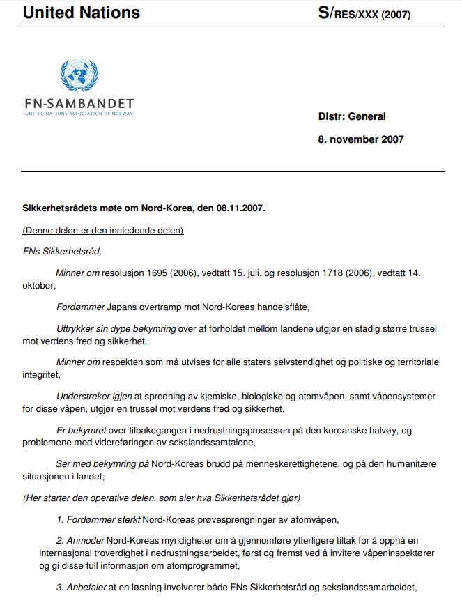 Eksempel på en resolusjontekt fra FNs sikkerhetsråd