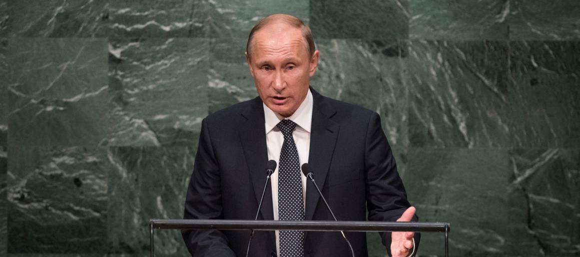Russlands president, Vladimir Putin, taler her i FNs generalforsamling. Foto: UN Photo/Cia Pak.