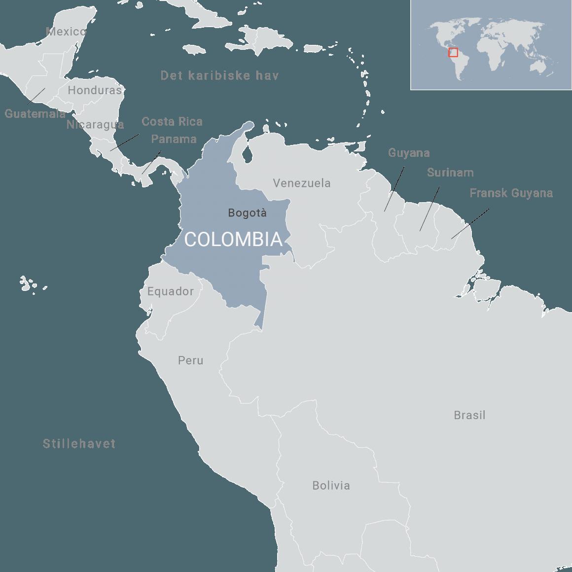 Kart over Colombia. Ill: FN-sambandet