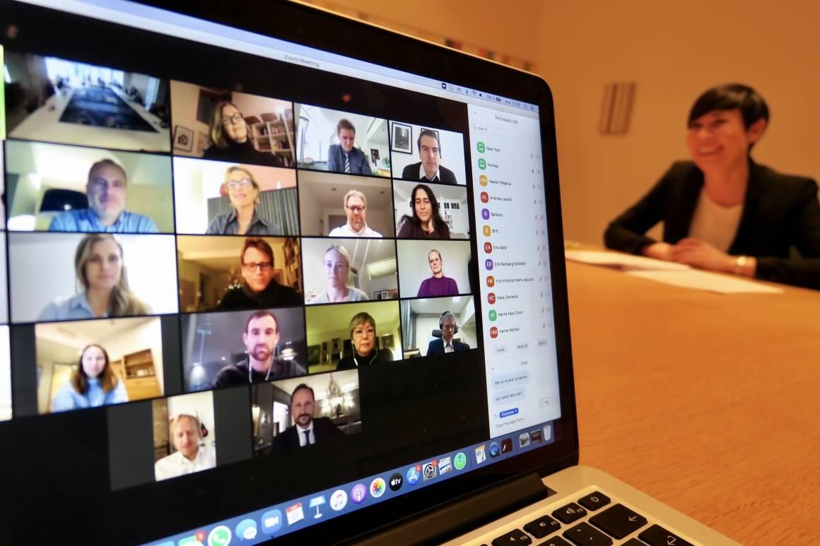 FN-delegasjonens virtuelle morgenmøte hvor Kronprins Haakon overraskende deltok. Foto: Utenriksdepartementet