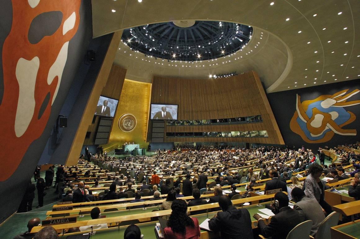 FNs generalforsamling. Overblikk over en fullsatt plenumssal.