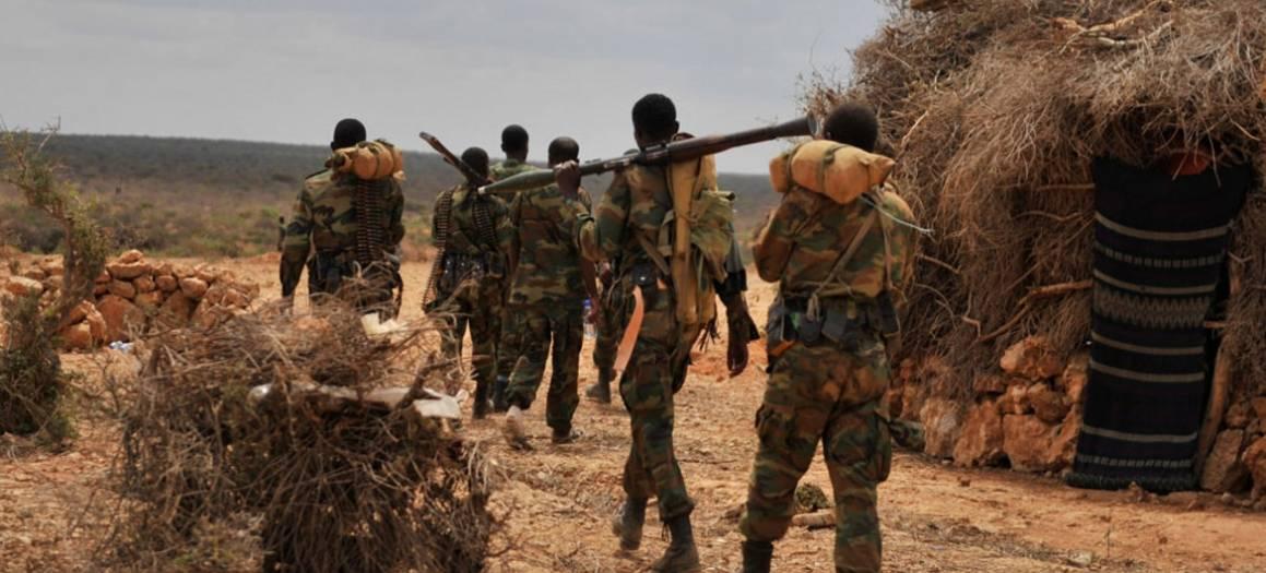 Bildet viser etiopiske soldater fraDen afrikanske unionensmilitæroppdrag,AMISOM. Bildet er tatt dagen etter at soldatene hadde vært i kamp med opprørsgruppen al-Shabaab ijuni 2016. Foto: UN News/AMISOM/Ilyas Ahmed.