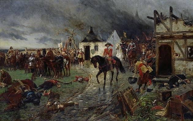 Fredsavtalene etter trettiårskrigen (1618-1648) regnes som starten på moderne folkerett og begynnelsen på prinsippet om statssuverenitet. Maleri av Ernest Croft.