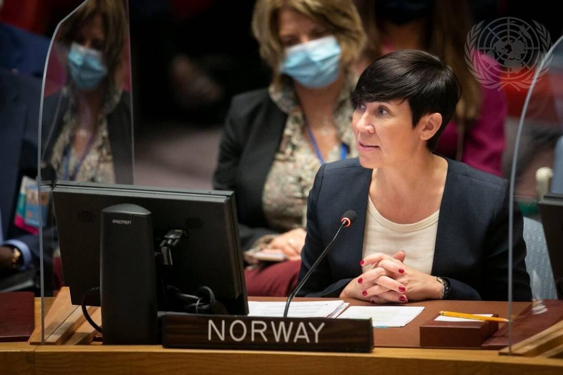 Utenriksminister Ine Eriksen Søreide talte under Sikkerhetsrådets møte om klima og sikkerhet. Foto: UN Photo/ Ariana Lindquist