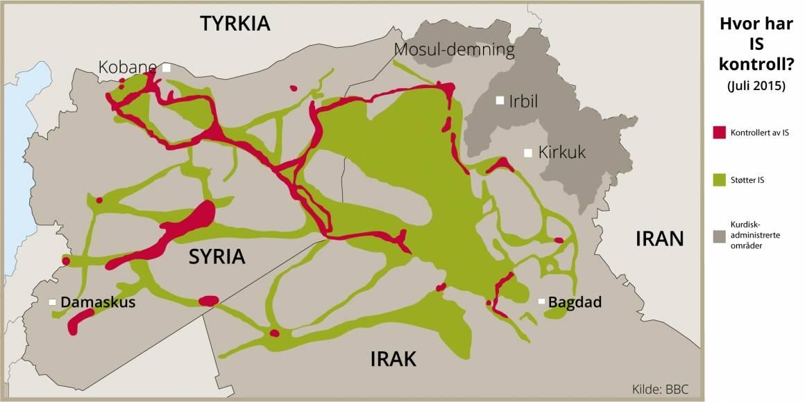 Kart over områder IS kontrollerer eller har støtte.