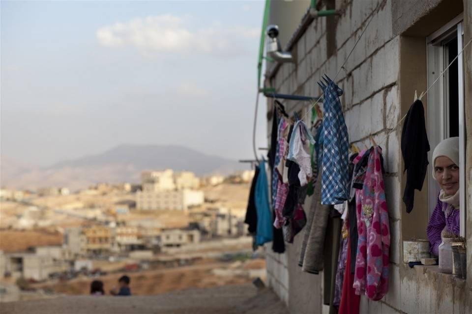 Syrisk kvinne i flyktningeleir ved byen Aarsal i Libanon i 2012.