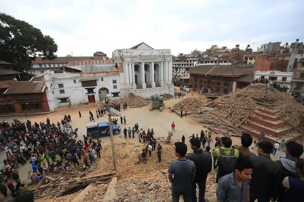 """Flere av områdene i og rundt Katmandu er på listen over hva UNESCO har fredet som såkalt """"verdensarv"""". Disse områdene ble hardt rammet av jordskjelvet, slik som på dette bildet av ødelagte templer. Foto:Laxmi Prasad Ngakhusi/UNDP Nepal"""