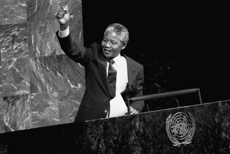 Nelson Mandela på talerstolen i FN