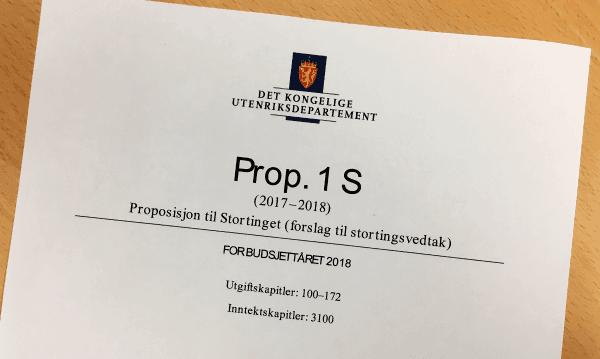 Statsbudsjettet for 2018. Foto: FN-sambandet / Terje Karlsen