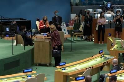 I dag stemte FNs medlemsland inn fem nye medlemmer i Sikkerhetsrådet. Albania, Brasil. Gabon, Ghana og De forente arabiske emirater trer inn i Sikkerhetsrådet i januar 2022. Foto: UN photo/Evan Schneider