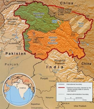 Inndelingen av Kashmir. Kilde: CIA World Factbook