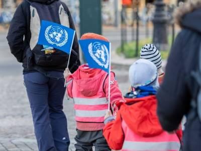 Barnehagebarn markerer FN-dagen i Oslo i 2018. Foto: FN-sambandet