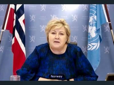 23. februar talte statsminister Erna Solberg i Sikkerhetsrådet for første gang siden Norge ble valgt inn. Temaet var klima og sikkerhet.Foto: UN Photo