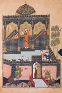 Tegning fra Kongenes bok 1000-tallet. Faramarz sørger over sin fars og sin onkels død.