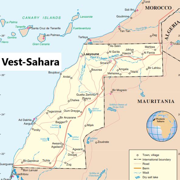 Kartet viser Vest-Sahara og dets naboland. Den røde streken som strekker seg fra Marokko i nord og gjennom Vest-Sahara til kysten i sør, er den 2700 km lange muren som Marokko har bygd, som i praksis delerVest-Sahara i to. (Kilde: un.org)
