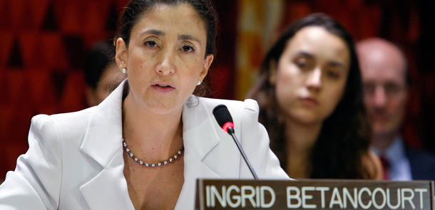 Ingrid Betancourt Pulecio holder tale i FN.  UN Photo/Paulo Filgueiras