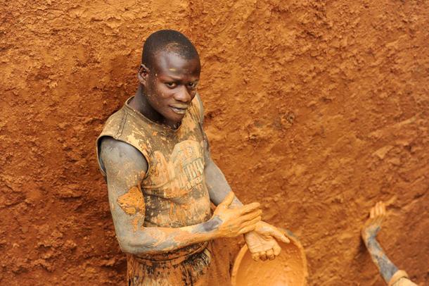 Arbeider i DR-Kongos diamantgruver Foto: Guy Oliver IRIN